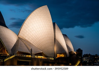SYDNEY - MARCH 24: Closeup of the sails of the Sydney Opera House during night on March 24, 2016 in Sydney, Australia.