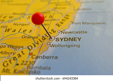 Sydney marked on map with red pin