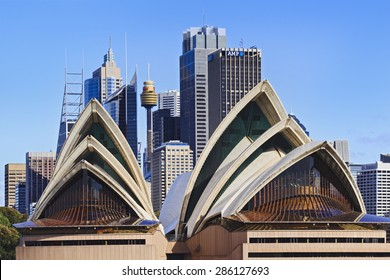 SYDNEY - May 10, 2015: The Sydney Opera House, viewed from Harbour in Sydney, Australia on May 10, 2015. It was designed by Danish architect Jorn Utzon.