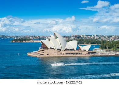SYDNEY - MAY 11, 2014: Sydney Opera House, Sydney, Australia. The Sydney Opera House is a famous arts centre. It was designed by Danish architect Jorn Utzon, finally opening in 1973