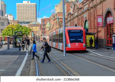 SYDNEY - MAY 12: Train at Paddy's market Station on May 12, 14 in Sydney. Sydney Trains is owned by the Government of New South Wales and operates all passenger rail services in metropolitan Sydney.