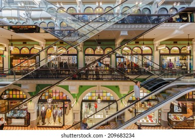 SYDNEY - MAY 15: Escalators at Queen Victoria Building (QVB) on May 15, 14 in Sydney. It is a late nineteenth-century building designed by the architect George McRae in Sydney, Australia.