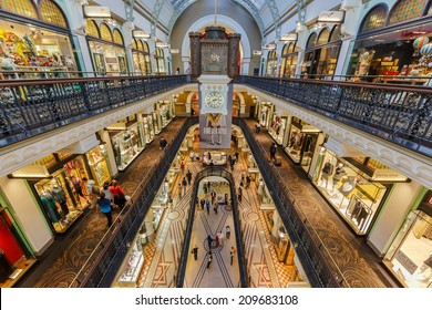 SYDNEY - MAY 15: People shop at Queen Victoria Building (QVB) on May 15, 14 in Sydney. It is a late nineteenth-century building designed by the architect George McRae in Sydney, Australia.