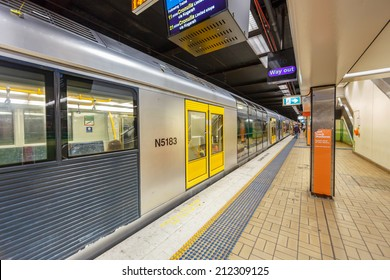 SYDNEY - MAY 15: Train at Town Hall Station on May 15, 14 in Sydney. Sydney Trains is owned by the Government of New South Wales and operates all passenger rail services in metropolitan Sydney.