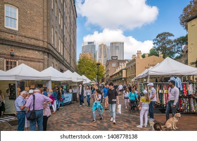 SYDNEY - MAY 18, 2019:  The Rocks Markets in downtown Sydney. It is a tourist attraction and historic area of Sydney Australia