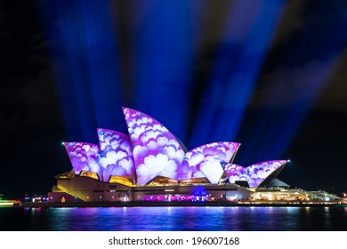 SYDNEY - MAY 31, 2014: Sydney Opera House shown during Vivid Sydney: A Festival of Light, Music & Ideas in Sydney, Australia.