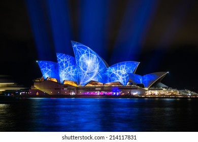 SYDNEY - MAY 31, 2014: Sydney Opera House shown during Vivid Sydney: A Festival of Light, Music & Ideas in Sydney, Australia