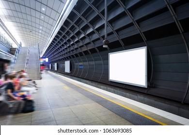 Sydney Metro, blank billboard on the platform