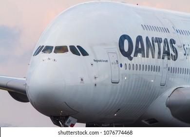 Sydney, New South Wales / Australia - April 21 2018: Qantas Airbus A380 airliner in close view, taxiing on runway.