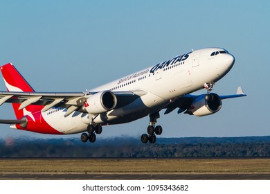 Sydney, New South Wales / Australia - May 20 2018: Qantas Airlines Airbus A330 airliner takes off from Sydney, Australia.