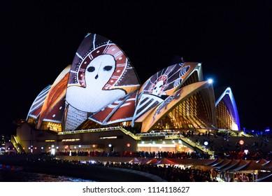 Sydney, New South Wales / Australia - June 10 2016: Vivid Sydney festival, the light projection of colorful patterns on Sydney Opera House