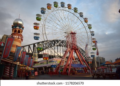 Sydney, New South Wales, Australia, September 8, 2018: Luna Park Sydney is a heritage-listed amusement park on the north shore of Sydney Harbour