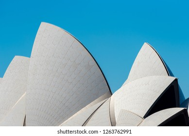 Sydney, New South Wales / Australia; August 12, 2018: Detail of Sydney Opera House's roof