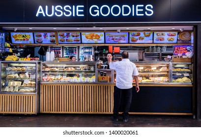 Sydney, New South Wales, Australia- 21 April 2019: Aussie Goodies food shop at Circular Quay.