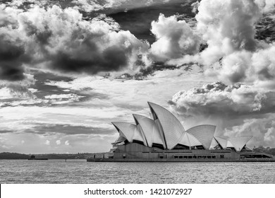 Sydney New South Wales, Australia, June, 11th, 2019 Beautiful view of the Sydney Opera House in black and white against a dramatic sky, Australia