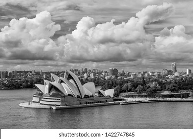 Sydney, New South Wales, Australia -  June 12 2019: Beautiful black and white view of the Sydney Opera House, Australia, from the Harbour Bridge