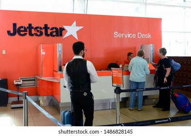 Sydney, New South Wales, Australia, Australia. Aug 2019. People at the Jetstar check-in desk at Sydney's domestic terminal.