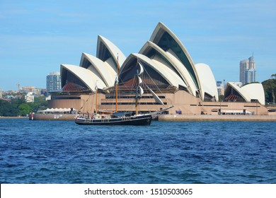Sydney, New South Wales, Australia - March 13, 2009: a tall ship on background of Sydney Opera House