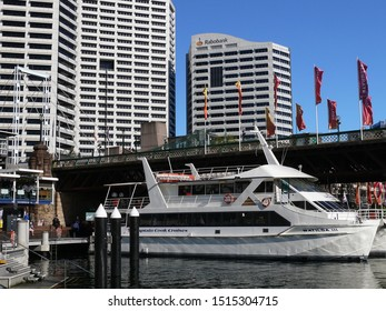 Sydney, New South Wales, Australia. Sept 2019. A view of the Captain Cook cruiser moored at Darling Harbour by the Pyrmont Bridge with the Sydney skyline in the background.