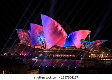 Sydney, New South Wales / Australia - May 26 2017: Sydney Opera House, Harbour Bridge and CBD at Night during Vivid light festival