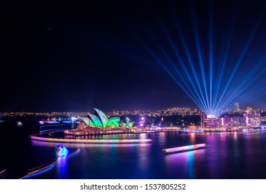 Sydney, New South Wales / Australia - June 09 2018: Sydney Opera House, Harbour Bridge and CBD at Night during Vivid light festival
