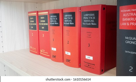 Sydney, New South Wales/ Australia - January 9 2019: Sets of law procedure books and manuals for civil law in New South Wales on a wooden bookshelves in library