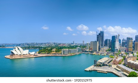 Sydney, New South Wales, Australia - January 24, 2020: The view looking across Circular Quay towards the iconic shape of the city's Opera House.