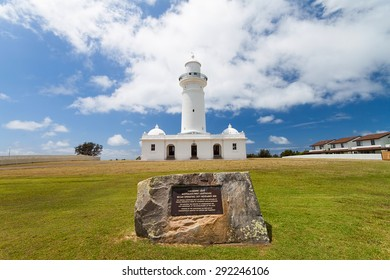 Sydney, New South Wales, Australia -  August 04, 2013: The first lighthouse in Australia, Macquarie Lighthouse with nice blue sky and white clouds.