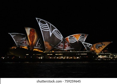 sydney New South Wales Australia June 11 2016 Sydney Opera House by night with aboriginal art projection on it at the Vivid Festival 2016