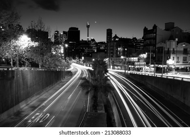Sydney Night, June 29. 2014. Night time long exposure, Black and White picture from Kings Cross, William St. in Sydney. Australia.