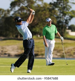 SYDNEY - NOV 11: Australian Stephen Leaney plays his second shot at the 17th in his second roound at the Emirates Australian Golf Open. Sydney - November 11, 2011