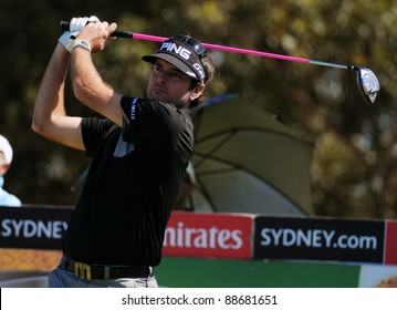 SYDNEY - NOV 12: American Bubba Watson drives the 14th green in the third round in the Australian Open at The Lakes golf course. Sydney - November 12, 2011