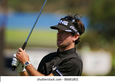 SYDNEY - NOV 12: American Bubba Watson plays an iron shot in the third round in the Australian Open at The Lakes golf course. Sydney - November 12, 2011.