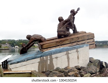 Sydney, Nova Scotia, Canada - September 20, 2017: The Merchant Mariner Memorial Monument sculpted on the Sydney Boardwalk to commemorate Canada's Merchant Navy service during World War II