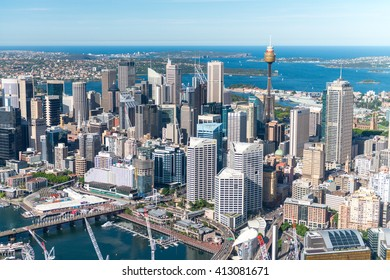 SYDNEY - NOVEMBER 10, 2015: Darling Harbour skyline aerial view. The city welcomes 10 million visitors every year.