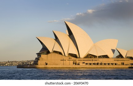 SYDNEY, November 11, 2008 - Late afternoon summer shot featuring horizontal side view of Sydney Opera House with harbour in foreground. Photographed in Sydney, Australia on 11 November, 2008.
