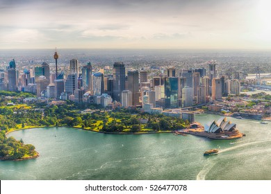 SYDNEY - NOVEMBER 2015: Wonderful aerial view of Sydney Harbour. The city attracts 15 million tourists annually.