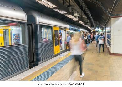 SYDNEY - NOVEMBER 8, 2015: Subway station interior. More than one million passengers use city subway each weekday