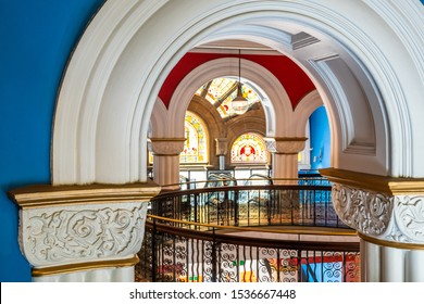 Sydney, NSW Australia - 10 25 2018: Details of the Queen Victoria Building interior architecture captured in a morning walk inside the shopping mall