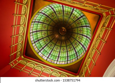 Sydney, NSW Australia - 10 25 2018: Details of the Queen Victoria Building dome captured in a morning walk inside the shopping mall