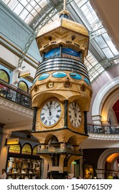 Sydney, NSW Australia - 10 25 2018: The Great Australian Clock inside Queen Victoria Building captured in a morning walk inside the shopping mall