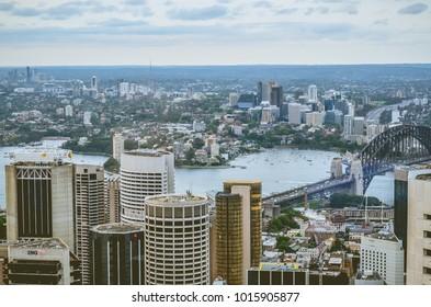 Sydney, NSW / Australia - 11 02 2017: Aerial view of Sydney downtown