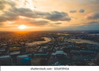 Sydney, NSW / Australia - 11 02 2017: Aerial view of Sydney during sunset