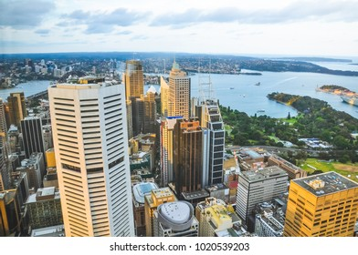 Sydney, NSW/ Australia - 11 02 2017: View at Sydney downtown from the Sydney Eye Tower