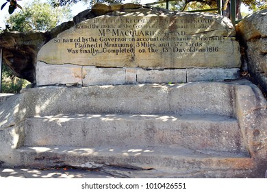 SYDNEY, NSW, AUSTRALIA - 31: Mrs. Maquarie's chair, preferred viewing point on peninsula in the Domain district on seaside, on October 31, 2017 in Sydney, Australia