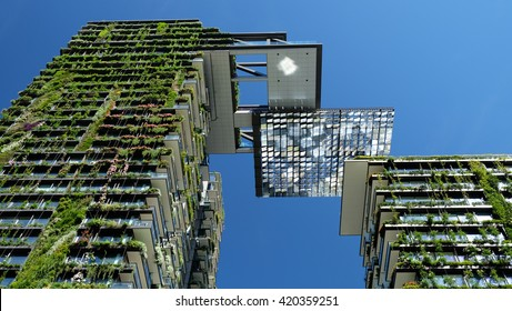 SYDNEY, NSW, AUSTRALIA - April 3, 2016: Blancas One Central Park vertical gardens are part of a larger regeneration program taking place in the Central Park zone of Sydney.