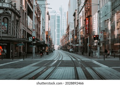 """""""Sydney, NSW Australia -August 22nd, 2021: Lockdown in Circular Quay and Martin Place isolated and without any tourism due to Delta variant and Covid 10 with all the businesses closed for months"""""""