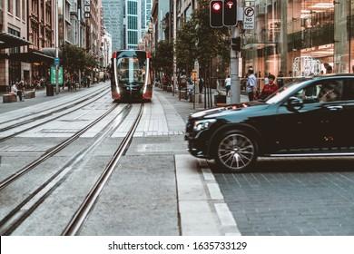 """Sydney, NSW / Australia - December 2nd 2019"" Sydney new light rail opening weekend"
