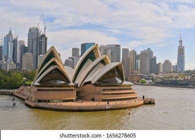 Sydney, NSW, Australia - February 10, 2020: Closeup of the Sydney Opera House. View from cruise ship.