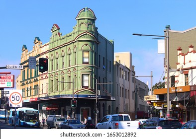 Sydney, NSW Australia - February 11 2020: The end of Sydney's lockout laws are not expected to dent Newtown's appeal. Pictured are buildings surrounding the main intersection at Newtown. King Street